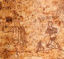 In Pompei, graffiti on the walls often depict popular gladiators, such as these two thraeces, M. Attilius and L. Raecius Felix.