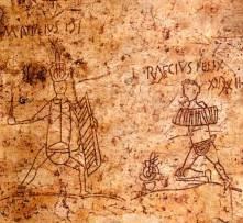 In Pompei, graffiti on the walls often depict popular gladiators, such as these two thraeces, M. Attilius and L. Raecius Felix.