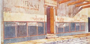 A reconstruction of a Pompeii street with political propaganda. Image courtesy of webmark.com.