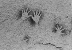 An example of Aboriginal hand stencil rock art.