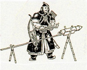 Rocket-propelled arrow. Gunpowder became used on weapons, and was to bring about a revolution in warfare.