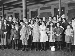 Immigrant children arriving at Ellis Island in 1908.
