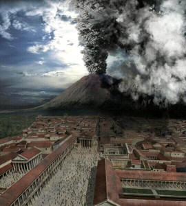 Computer generated imagery of the eruption of Mount Vesuvius as seen from Pompeii in 79 AD.