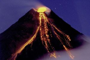 Mayon Volcano in the Philippian Islands erupting December 29, 2009