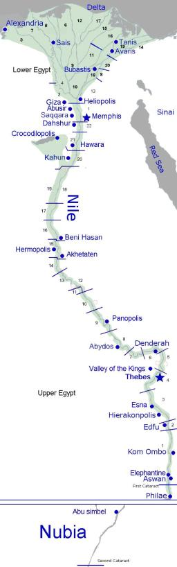 Map of Ancient Egypt before the first Pharaoh: Most of the people lived in the fertile lands along the Nile River.  This map also shows the Egyptian cities and the borders between them.