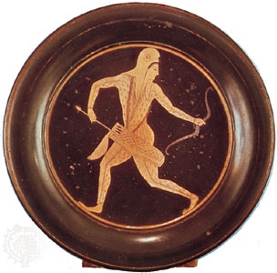 Greek bowl with an illustration of a Scythian archer.