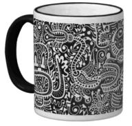 "The ""Fira"" mug in white on black."