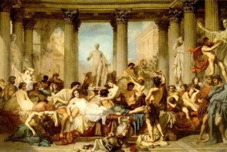 A painting by Thomas Couture depicting Romans celebrating Saturnalia.