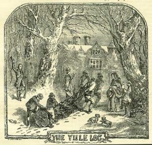 An illustration of people collecting a Yule log from Chambers Book of Days (1832) p. 736