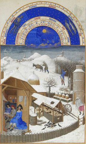 Très Riches Heures du duc de Berry Folio 2, verso: February. Artist: Limbourg brothers (1385–1416).