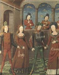 Miniature from a manuscript of the Roman de la Rose (Oxford, Bodleian Library, MS Douce 364), folio 83, Mirth and Gladness lead a dance.