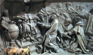 Detail of the tomb of Pope Gregory XIII celebrating the introduction of the Gregorian calendar. Image courtesy of de:User:Rsuessbr.