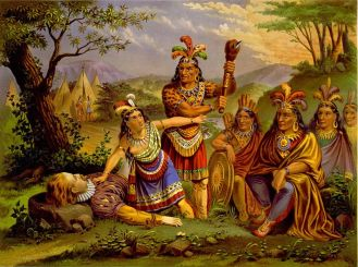 Artist depiction of Pocahontas saving the life of Capt. John Smith. Library of Congress