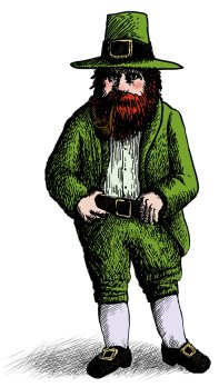 A modern stereotypical depiction of a leprechaun.