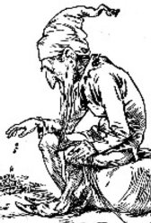 An engraving of a leprechaun counting his gold, 1900.