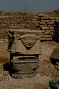 Temple of Hathor at Dendera, Egypt. Hathor Column