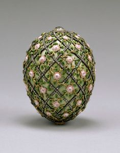 The Rose Trellis Faberge Egg presented by Tsar Nicholas II to his wife, the Empress Alexandra Fyodorovna, on Easter (April 22) 1907.