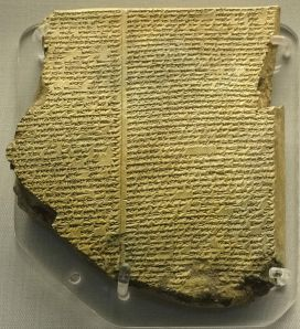 Part of a clay tablet, containing the Epic of Gilgamesh, tablet 11, story of the Flood. In the British Museum. Image courtesy of Fæ.