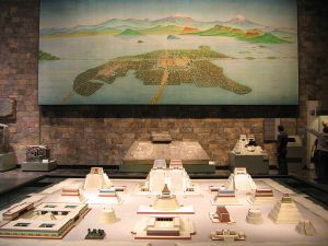 Reconstruction of Tenochtitlan, the capital of the Aztecs - the centre of modern Mexico City. (National Museum of Anthropology of Mexico City)