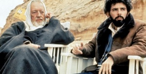 George Lucas and Ben Obi-Wan Kenobi (aka Alec Guinness), on set