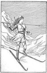 Skadi hunting in the mountains. Illustration by H.L.M. in 1901.