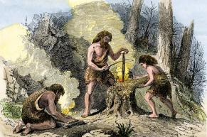 Humans discover fire.