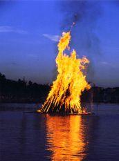 A Midsummer bonfire in Finland.