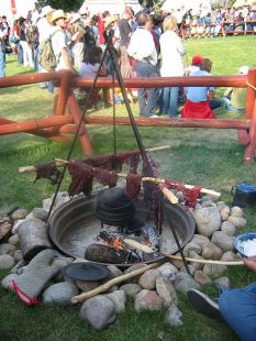 Preparing pemmican.