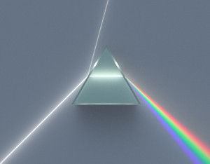 Illustration of a dispersive prism decomposing white light into the colours of the spectrum, as discovered by Newton. Image credit: Spigget on Wikimedia Commons.