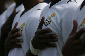 Ghana National Football team as their national anthem plays at the World Cup.. Image credit: Benjamin Mussler.