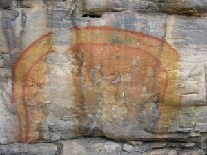 "Australian Aboriginal rock painting of ""The Rainbow Serpent"". Image Credit: Mark O'Neil www.DigitalTribes.com"