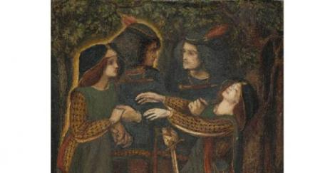 """How They Met Themselves"", Dante Gabriel Rossetti, watercolor, 1864. Source: Wikipedia"