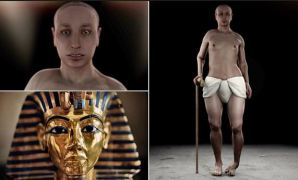 The shocking recreation of King Tut compared to his burial mask. Image credit: Daily Mail,