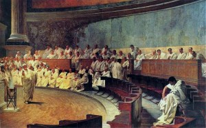 Representation of a sitting of the Roman Senate: Cicero accuses Catiline. From a 19th-century fresco.
