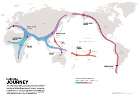 Geneticists map the human journey out of Africa. Click to view a video of the map and the journey. Image: National Geographic.
