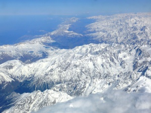 Aerial view of the Caucasus Mountains.
