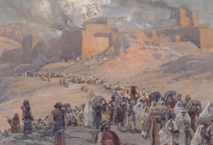 James Tissot's painting, The Flight of the Prisoners. Depicts Judeans fleeing Jerusalem after is was destroyed.