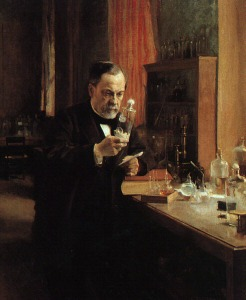 Painting of Louis Pasteur studying germs in his laboratory, 1885. A. Edelfeldt.