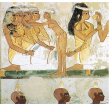 Ancient Egyptian women and men wearing kohl eyeliner, from the tomb of Nakht in Thebes (15th century BCE).
