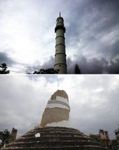 Dharahara Tower before and after the earthquake. Image credit: NPR, Sunil Sharma/Xinhua/Landov and Narendra Shrestha/EPA/Landov