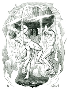 A depiction of the creation of the world by Odin, Vili and Vé. Illustration by Lorenz Frølich.