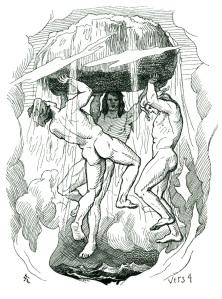 A depiction of the creation of the world by Odin, Vili and Vé. Illustration by Lorenz Frølich.