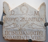 Funerary stele with the inscription ΙΧΘΥC ΖΩΝΤΩΝ (