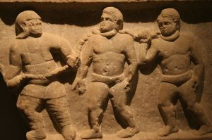 Roman collared slaves. Marble relief, from Smyrna (Izmir, Turkey), 200 CE. Collection of the Ashmolean Museum, Oxford, England.