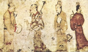 Eastern Han tomb painting, by an Anonymous Chinese artist. Scanned from Anil de Silva's book The Art of Chinese Landscape Painting (1968).