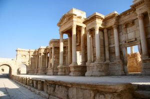 Tadmor, Syria: the scene of the theater of Palmyra