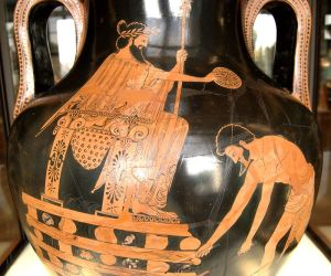 Croesus on the pyre, Attic red-figure amphora, Louvre (G 197)