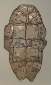 An Oracle Turtle Shell. Tortoise plastron with divination inscription from the Shang dynasty, dating to the reign of King Wu Ding. Held at the National Museum of China in Beijing.