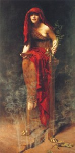 Priestess of Delphi (1891), as imagined by John Collier; the Pythia is inspired by pneuma rising from below as she sits on a tripod.