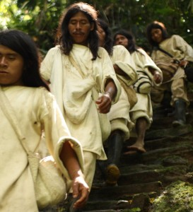 Kogi — an indigenous ethnic group that lives in the Sierra Nevada de Santa Marta in Colombia — walking down the stairs in a special ceremony at Ciudad Perdida in Colombia. (Courtesy of GHF.)